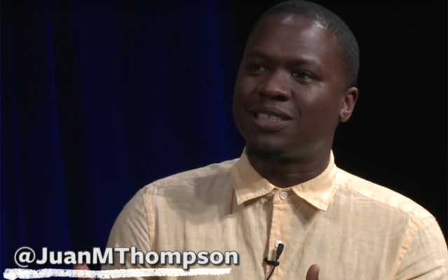 Juan Thompson on a panel for BRIC TV in Brooklyn, June 24, 2015. JTA
