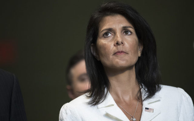 Nikki Haley speaking to reporters at the United Nations headquarters in New York, March 27, 2017. (Drew Angerer/Getty Images)