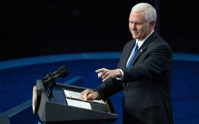 Vice President Mike Pence speaking at the AIPAC convention in Washington, D.C., March 26, 2017. (Noam Galai/Getty Images)
