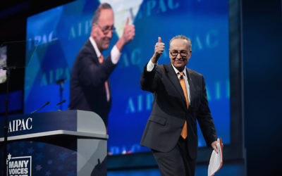 Sen. Charles Schumer, the Senate minority leader, at the AIPAC policy conference, March 28, 2017. (Courtesy of AIPAC)