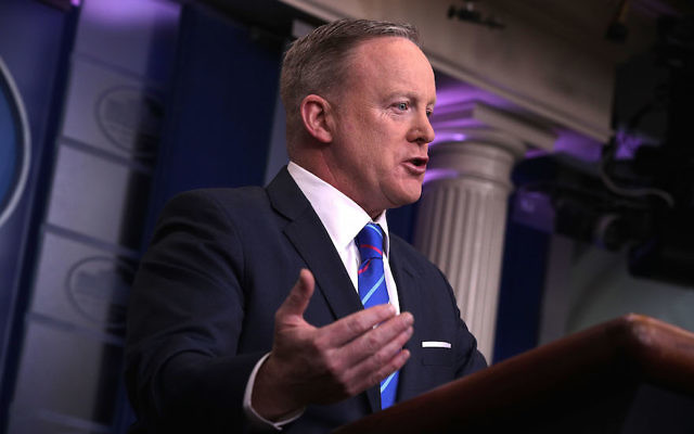 White House Press Secretary Sean Spicer speaking at a White House daily briefing at the James Brady Press Briefing Room of the White House, Feb. 27, 2017. (Alex Wong/Getty Images)