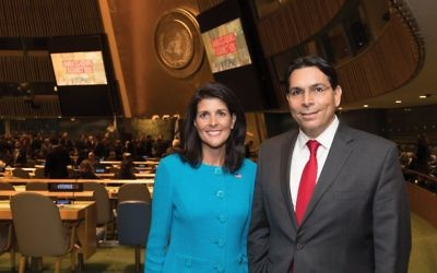Dynamic duo: Ambassadors Nikki Haley and Danny Danon denounced BDS at U.N. conference. Shahar Azran
