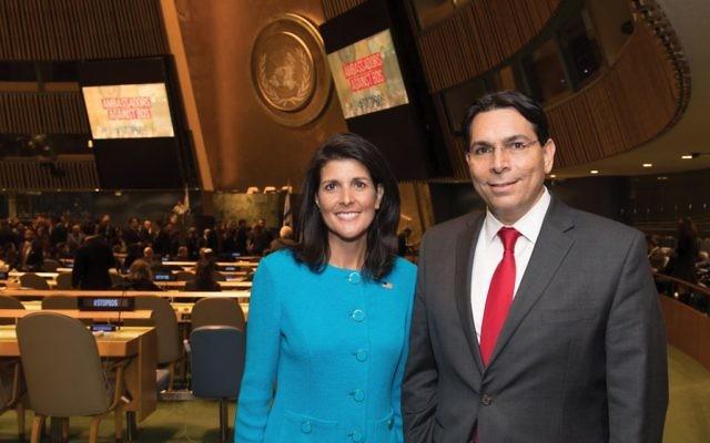 Dynamic duo: Ambassadors Nikki Haley and Danny Danon denounced BDS at U.N. conference. Shahar Azran
