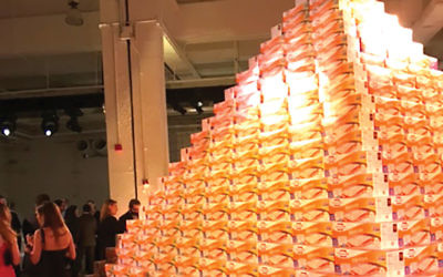 Matzah message: A pyramid of matzah boxes at The Bash symbolized how UJA-Federation of New York helps feed Jews in need. Gary Rosenblatt/JW