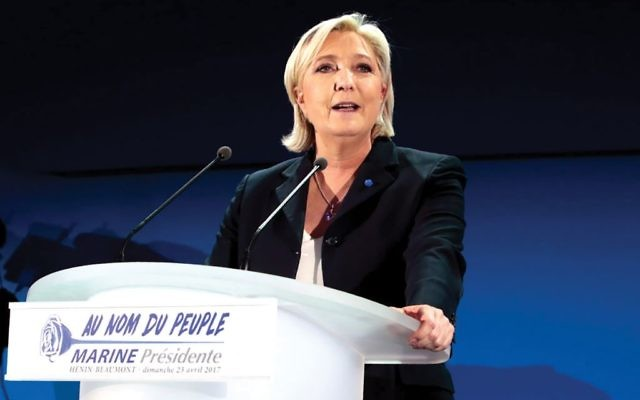 Marine Le Pen, of the National Front, vowed Tuesday to ban hallal and some forms of ritual slaughter as part of a hardline platform. Getty Images