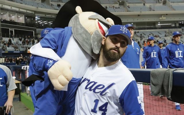 Two mensches on the bench: Team Israel's mascot follows Cody Decker into the Mets' minor leagues this spring. Decker, who played briefly with the Padres in 2015, has 173 minor league homers, more than any active player. JTA