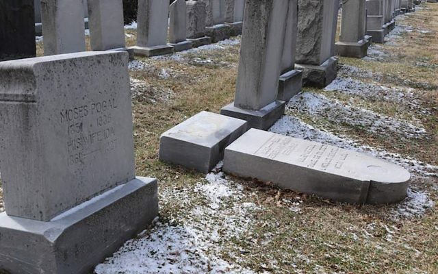 Vandalized gravestones discovered in March at the Waad Hakolel Cemetery in Rochester, N.Y. Getty Images