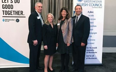Westchester District Attorney Anthony A. Scarpino, Jr., left, UJA-Federation's Westchester government relations chair Debra A. Weiner of White Plains, UJA-Federation's public policy committee chair Karen Spar Kasner of Scarsdale and Westchester Jewish Council President Paul Warhit of New Rochelle at legislative breakfast. Courtesy of UJA-Federation/Westchester