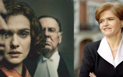 """Rachel Weisz, left, as Professor Deborah Lipstadt, right, in """"Denial.'"""