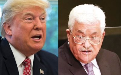 In their upcoming meeting in Washington, President Donald Trump, left, is in the position to pressure Palestinian Authority President Mahmoud Abbas about the content of Palestinian textbooks. Photos by Getty Images