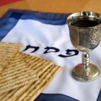 Passover seder table. Wikimedia Commons