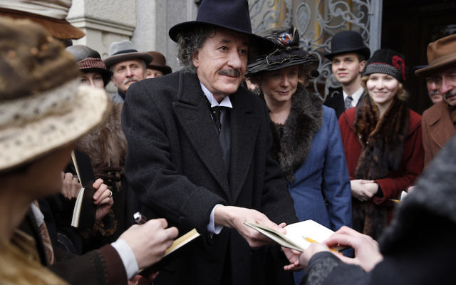 """Geoffrey Rush as Albert Einstein with Emily Watson as his wife Elsa in the National Geographic show """"Genius."""" JTA"""