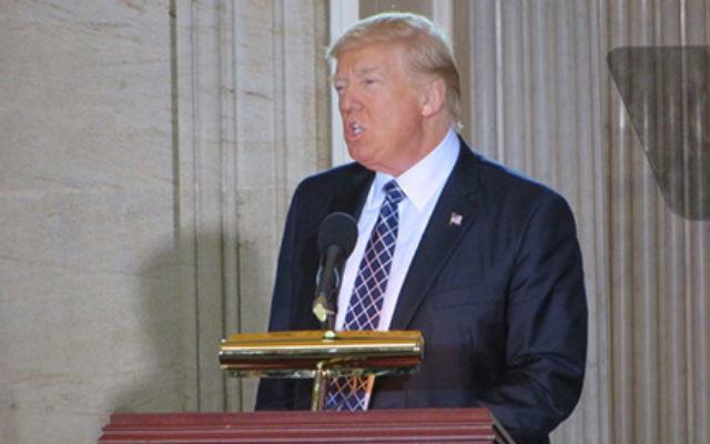 President Donald Trump speaking in the Capitol Rotunda, April 25 2017. (Ron Kampeas)
