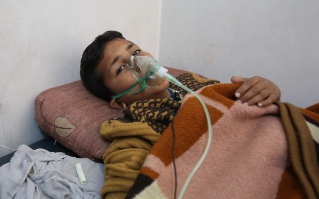 IDLIB, SYRIA - APRIL 05: A chemical gas attack survivor 9-years-old boy, Hassan Dallal, receives medical treatment at an hospital Maarrat al-Nu'man Town of Idlib, Syria on April 05, 2017. On Tuesday more than 100 civilians had been killed and 500 others, mostly children, injured in Assad Regime's suspected chlorine gas attack carried out by  warplanes in the town of Khan Shaykun, Idlib province. Getty Images