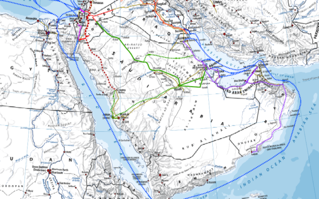 A map of Intelligence Minister Yisrael Katz's proposed regional railway. (Courtesy of the Intelligence Ministry)