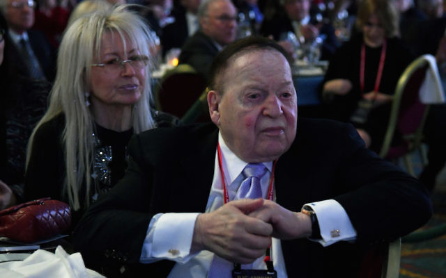 Sheldon Adelson with his wife Miriam at the Republican Jewish Coalition's annual leadership meeting at The Venetian Las Vegas, Feb. 24, 2017. (Ethan Miller/Getty Images)
