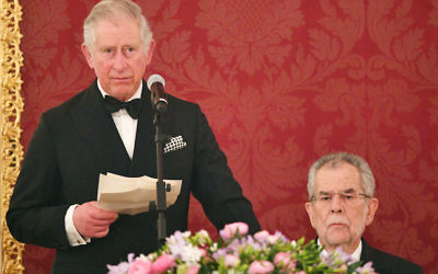 VIENNA, AUSTRIA - APRIL 05:  Prince Charles, Prince of Wales gives a speech at the Hofburg Palace during a State Dinner on April 5, 2017 in Vienna, Austria. Her Royal Highness will accompany the First Lady on a tour of the presidential apartments whilst His Royal Highness and the President hold a bilateral discussion with the Austrian and British delegations. Getty Images