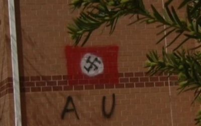 The swastika daubed on the Jewish Community Center in northern Virginia, April 11, 2017. (Screenshot from NBC Washington)