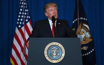 President Donald Trump delivering a statement on Syria from his Mar-a-Lago estate in West Palm Beach, Fla., April 6, 2017. (Jim Watson/AFP/Getty Images)