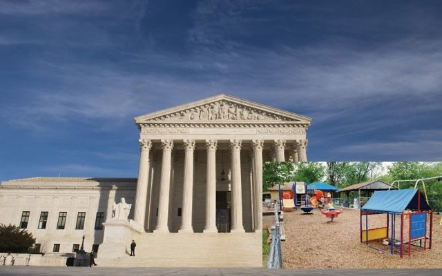 With newly confirmed Justice Neil Gorsuch possibly swinging the court to the right, a case about using state funds to resurface a church playground could benefit supporters of school vouchers. GETTY IMAGES, INSET: BRUCE WESTBROOK/JW