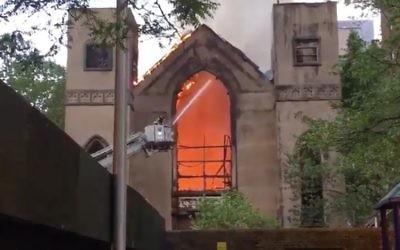 A three-alarm fire destroyed the  Beth Hamedrash Hagadol synagogue on the Lower East Side.  JTA