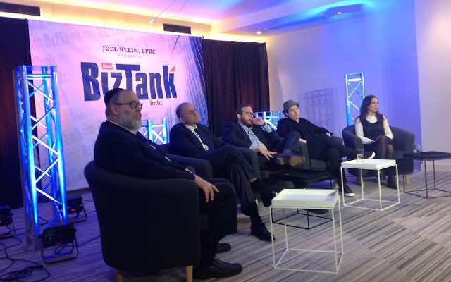 """BizTank, a haredi Orthodox version of """"Shark Tank,"""" brings together a panel of mostly Orthodox Jewish investors to hear pitches from entrepreneurs. (Ben Sales)"""