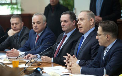 Israeli Prime Minister Benjamin Netanyahu chairing the weekly Cabinet meeting in Jerusalem, Dec. 25, 2016. JTA