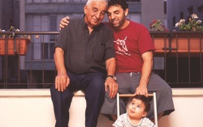 Keret with his late father Efraim, and son Lev, in a photo from 2006. Jonathan Bloom