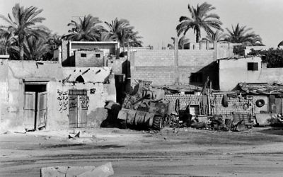 View of a destroyed tank on the road between Bethlehem and Jerusalem in June 1967 during the six-day war. Getty Images