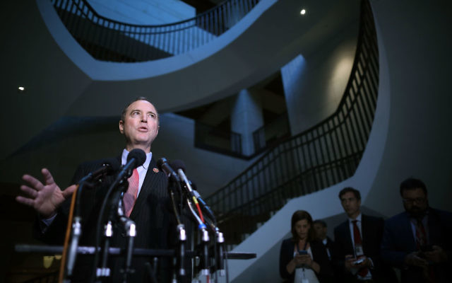 House Intelligence Committee ranking member Rep. Adam Schiff (D-CA) talks to reporters following a closed-door meeting with CIA Director Mike Pompeo at the U.S. Capitol May 16, 2017 in Washington, DC. Pompeo was likely questioned about news reports that President Donald Trump shared sensitive intelligence with Russian officials last week at the White House. Getty Images