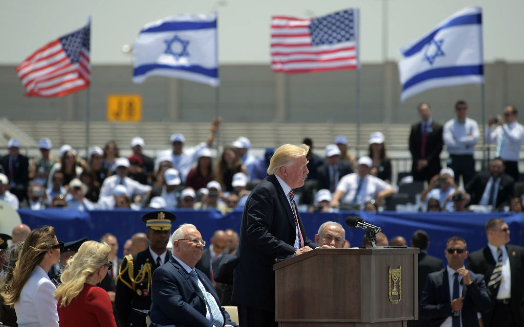 US President Donald Trump (C) gives a speech during a welcome ceremony upon his arrival at Ben Gurion International Airport in Tel Aviv on May 22, 2017, as part of his first trip overseas. / AFP PHOTO / MANDEL NGAN        (Photo credit should read MANDEL NGAN/AFP/Getty Images)