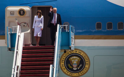 US President Donald Trump (R) and first lady Melania Trump disembark from Airforce One at Ben Gurion International Airport on May 22, 2017 near Tel Aviv, Israel. This will be Trump's first visit as President to the region, and his itinerary will include meetings with the Palestinian and Israeli leaders. Getty Images