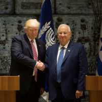 JERUSALEM, ISRAEL - MAY 22:  (ISRAEL OUT) US President Donald Trump (L) shakes hands with Israel's President Reuven Rivlin during a visit to the President's House on May 22, 2017 in Jerusalem, Israel. Trump arrived for a 28-hour visit to Israel and the Palestinian Authority areas on his first foreign trip since taking office in January.  (Photo by Lior Mizrahi/Getty Images)