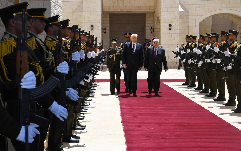 In this handout image provided by the Palestinian Press Office (PPO) Palestinian president Mahmoud Abbas meets US President Donald Trump on May 23, 2017 in Bethlehem, West Bank.  Getty Images