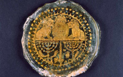 Gilded glass with depictions of Jewish symbolic and ritual objects, fourth century. (Vatican Museum)