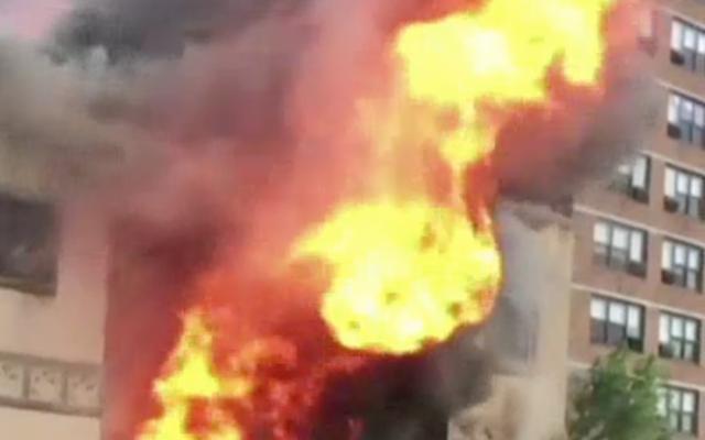 The historic Beth Hamedrash Hagadol synagogue ablaze, May 14, 2017. (Screenshot from NBC New York)