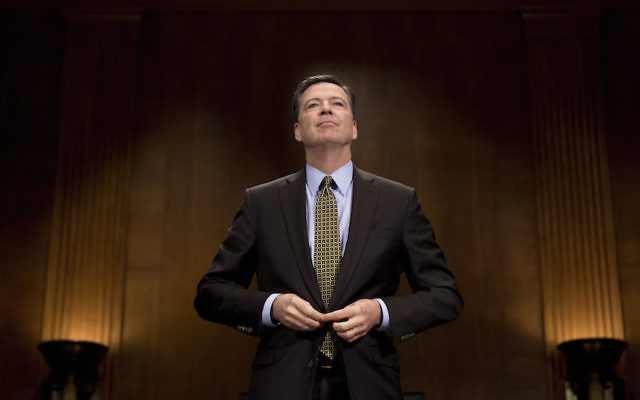 FBI Director James Comey preparing to testify before the Senate Judiciary Committee on Capitol Hill, May 3, 2017. (Jim Watson/AFP/Getty Images)