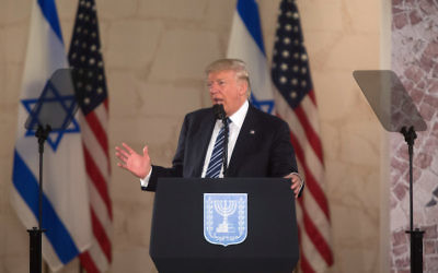 President Donald Trump speaking at the Israel Museum in Jerusalem, May 23, 2017. (Lior Mizrahi/Getty Images)