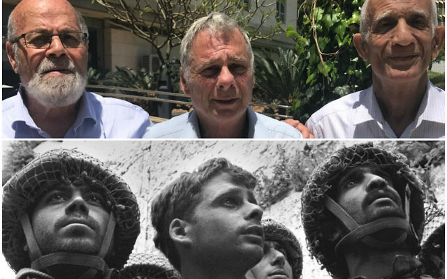 In top photo, from left: Tzion Karasenti, Yitzhak Yifat and Chaim Oshri standing on the Tel Aviv University campus in Ramat Aviv, Israel, May 7, 2017. They were featured in the iconic photo by David Rubinger after the Six-Day War in 1967. JTA