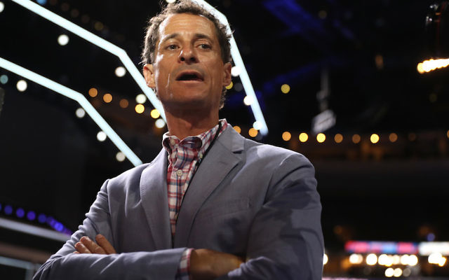 Anthony Weiner at the 2016 Democratic National Convention in Philadelphia, July 26, 2016. (Joe Raedle/Getty Images)