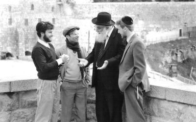 The source of Aish: Rabbi Noach Weinberg, second from right, who founded the Aish HaTorah and oversaw its global growth. The current dispute is between some of his closest devotees. Courtesy of Aish HaTorah