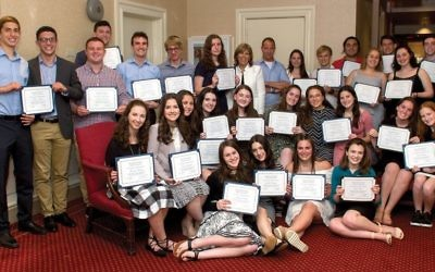 Pre-campus prep: Forty-three high school seniors from a variety of public, private and Jewish day schools received certificates on completing the two-year Write On For Israel program this year. Courtesy of Judah Harris