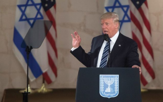 President Donald Trump speaking last week at the Israel Museum during his swing through the Middle East. Getty Images