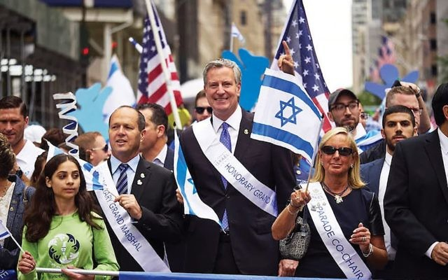 New York City Mayor Bill de Blasio marching Sunday in the Celebrate Israel parade.  James Keivom/NY Daily News via Getty Images