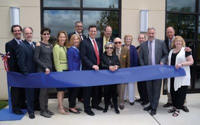 The ribbon-cutting ceremony last week for the Harold & Elaine Shames JCC on the Hudson in Tarrytown. Courtesy of the Shames JCC