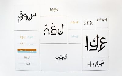 Examples of Aravit words hanging on display. JTA