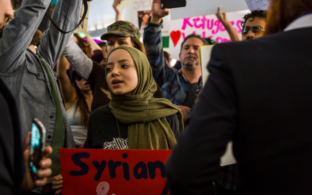 Dalya protesting the Muslim travel ban at LAX in January 2017. Credit: Dustin Pearlman