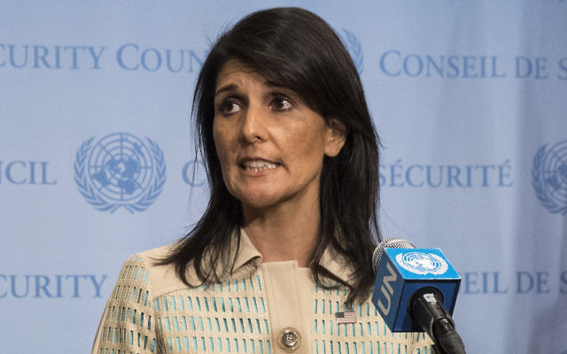 Nikki Haley at a press briefing before a meeting of the United Nations Security Council in New York, May 16, 2017.