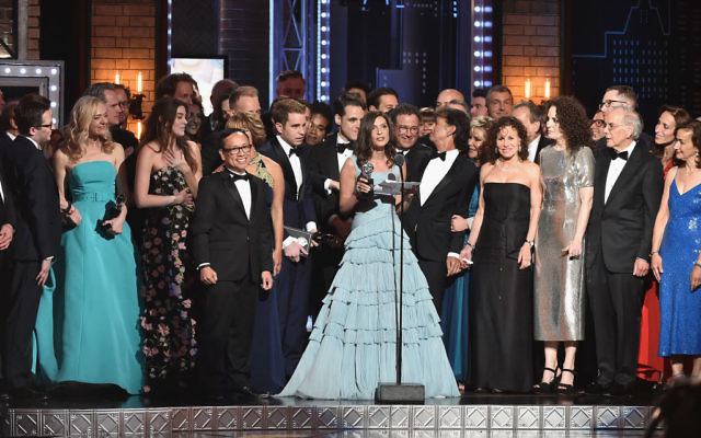 "Producer Stacey Mindich and the cast of 'Dear Evan Hansen"" accept the award for Best Musical onstage during the 2017 Tony Awards at Radio City Music Hall on June 11, 2017 in New York City. Getty Images"