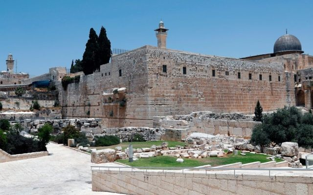 A picture taken on June 27, 2017 shows the right-part of the Western Wall with the dome of Al-Aqsa mosque seen on the right of the photo, taken from the archaeological site known as Robinson's Arch where renovations for the egal. section have started. The kotel bill was one point of contention between American Jews and the Israeli gov. this year. Getty Images